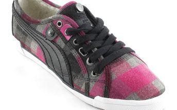 Dámské polobotky Puma růžovo-černé kostičkované
