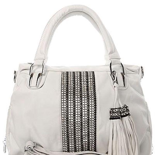 Módní středně velká kabelka se stříbrnými cvočky