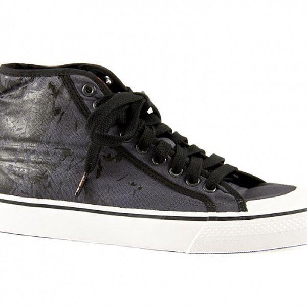 Pánské černé kotníkové tenisky Adidas s potiskem