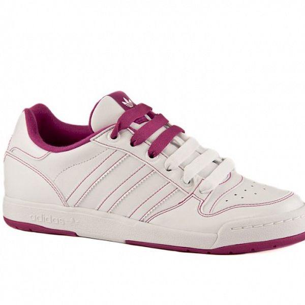 Dámske biele kožené tenisky Adidas s ružovými detailami