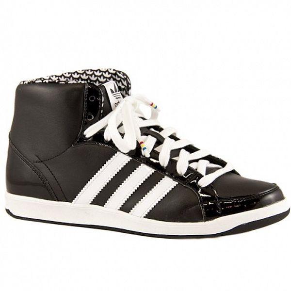 Čierne kožené kotníkové tenisky Adidas s bielymi prúžkami