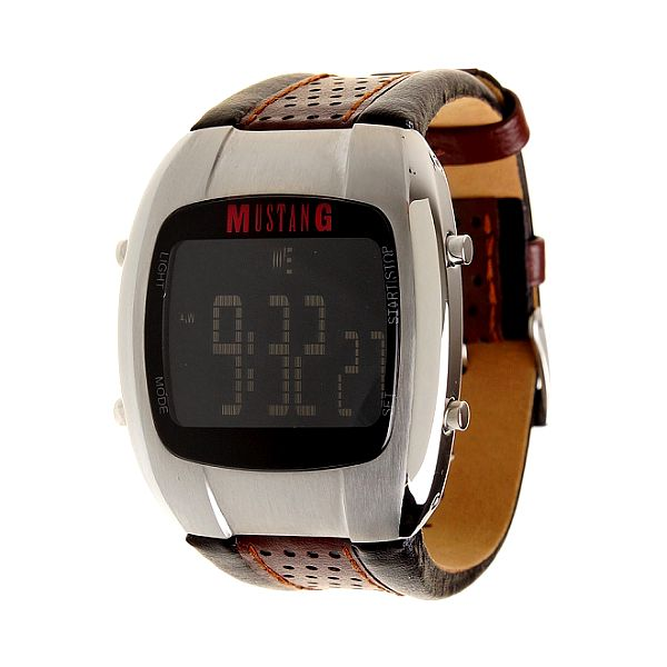 Pánské digitální hodinky Mustang s hnědým koženým řemínkem