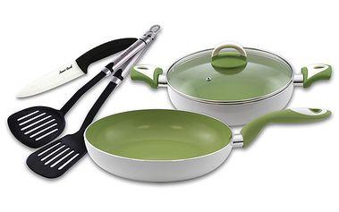 Kvalitní kuchyňská sada - Smart Cook. Obsahuje 2x obracečku, keramický nůž a 2x pánev