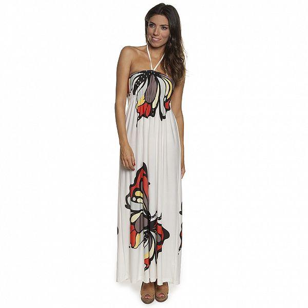 Dámské bílé šaty Blue Velvet s velkými barevnými motýly