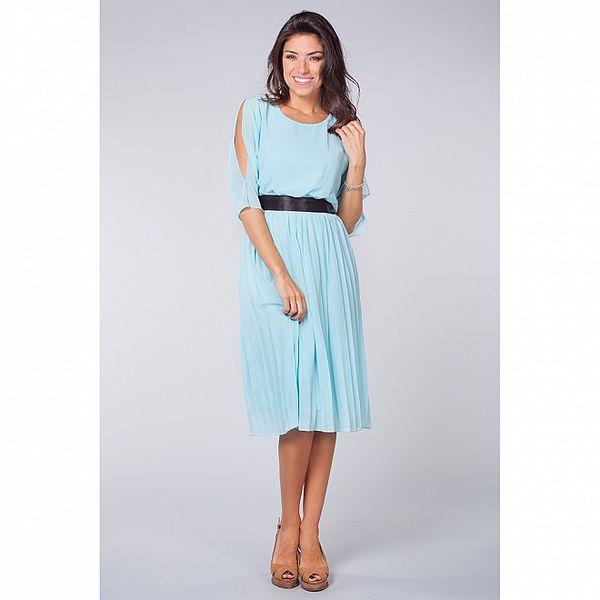 Dámské světle modré šaty Blue Velvet s černou saténovou stuhou