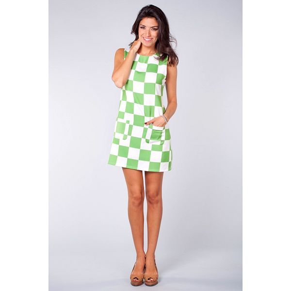 Dámske zeleno-biele kockované šaty Blue Velvet