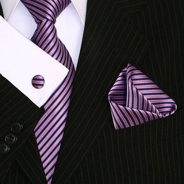 Luxusní hedvábná kravata Binder de Luxe ze 100% jemného hedvábí + kapesníček a knoflíček