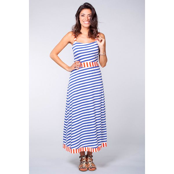 Dámske dlhé modro-biele námornícke šaty Blue Velvet s červenými detailami