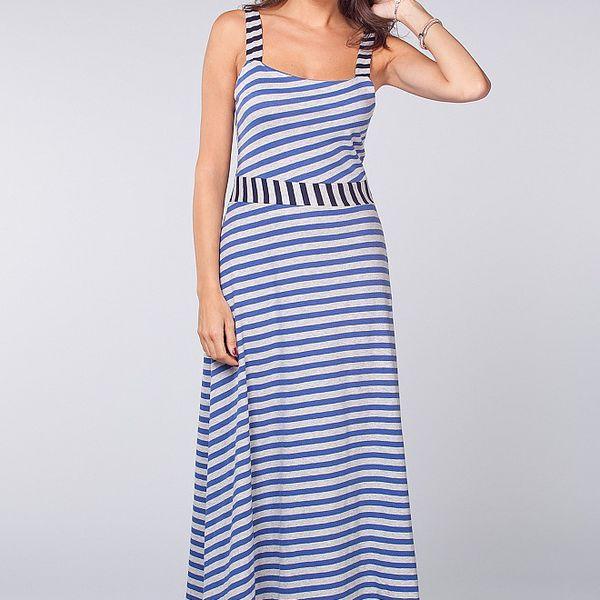 Dámske dlhé modro-biele námornícke šaty Blue Velvet