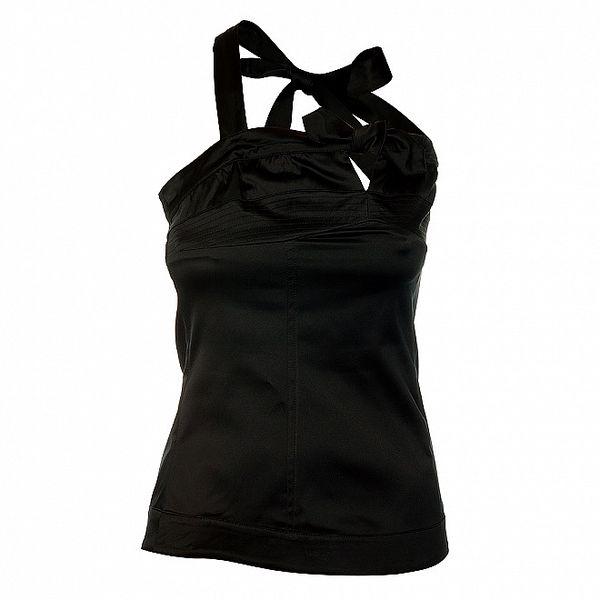 Dámský černý top bez rukávů se zavazování za krk