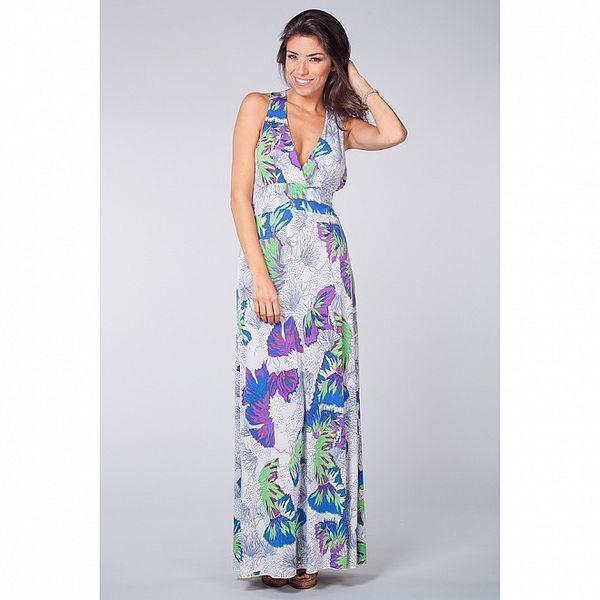 Dámské dlouhé bílé šaty Blue Velvet s květinovým vzorem