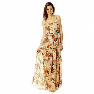 Dámske béžové vzorované šaty na ramienka v štýle Hilary Swank Roberto Verino