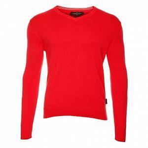 Pánsky červený sveter s výstrihom do V Roberto Verino