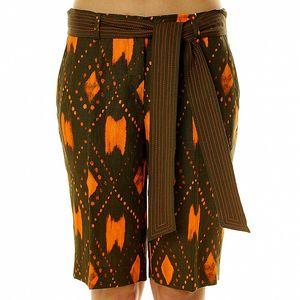 Dámské lněné khaki bermudy s oranžovým vzorem Roberto Verino.