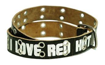 Dámský opasek Red Hot černý bílý potisk