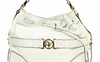 Dámska biela kabelka so zlatou sponou Roberto Verino