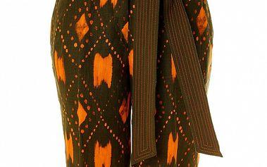 Dámske ľanové khaki bermudy s oranžovým vzorom Roberto Verino.