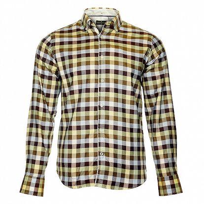 Pánska hnedá kockovaná košeľa Roberto Verino