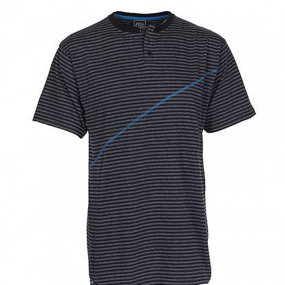 Pánske tmavo šedé prúžkované tričko Chico s modrým švom