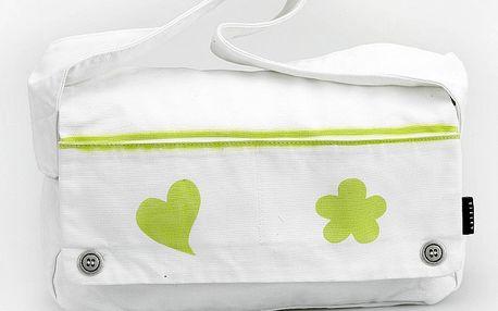 Dámska biela taška Sisley so zelenou potlačou