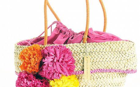 Letní dámská slaměná taška Benetton s růžovými detaily