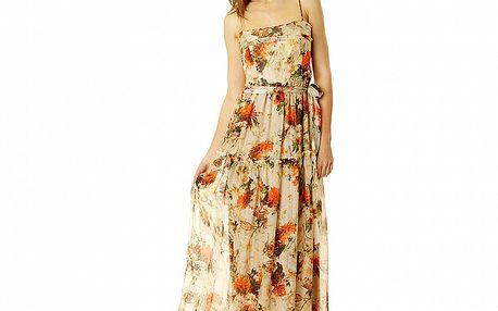 Dámské béžové vzorované šaty na ramínka ve stylu Hilary Swank Roberto Verino