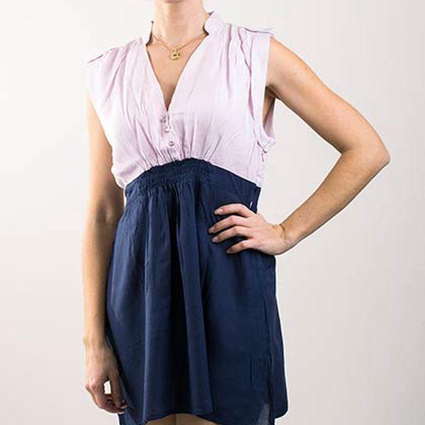 Elegantní růžovo-modré šaty