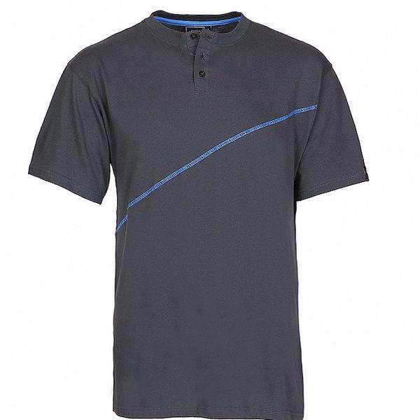 Pánské šedé proužkované tričko Chico s modrým švem