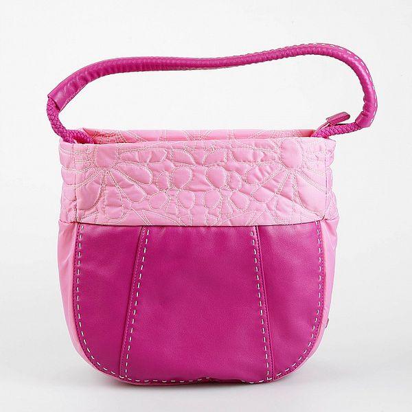 Dámská růžová kabelka Sisley s ozdobným prošíváním