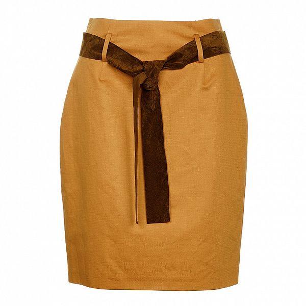 Dámska béžová púzdrová sukňa Pietro Filipi s koženým opaskom