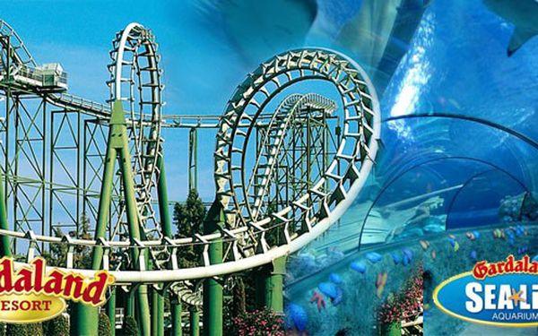 Zájezd do Gardalandu a SeaLife u jezera Lago di Garda! Horské dráhy, delfinárium, 4D kino a vodní svět v 5. nejlepším zábavním parku na světě – den neomezené zábavy! Vstupné v ceně!