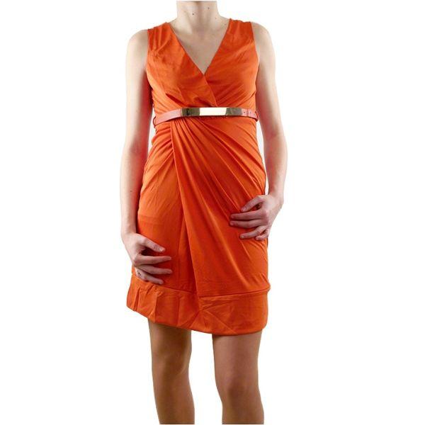 Dámské šaty Lucy Paris oranžové s ozdobným páskem