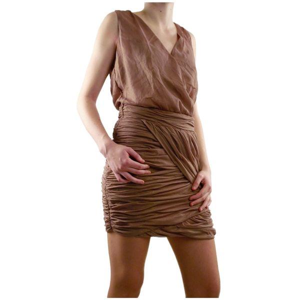 Dámské šaty Lucy Paris hnědé nabírané