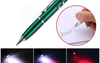 Klíčenka 4v1 - laser / LED svítilna / stylus a propiska a poštovné ZDARMA! - 2102844