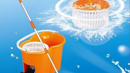 Oranžový kbelík se ŽDÍMACÍM mechanismem - s pedálem, teleskopická tyč + 4 hlavice.