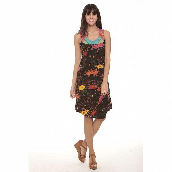 Dámske hnedé šaty so vzorom Peace&Love
