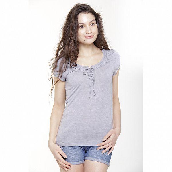 Dámské světle modré triko s krátkým rukávem a mašlíčkou Peace&Love