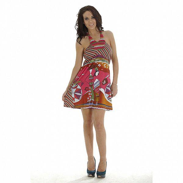Dámské fuchsiové pestrobarevné šaty s potiskem Peace&Love