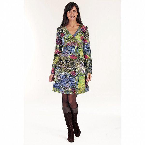 Dámské pestrobarevné šaty s dlouhým rukávem Peace&Love