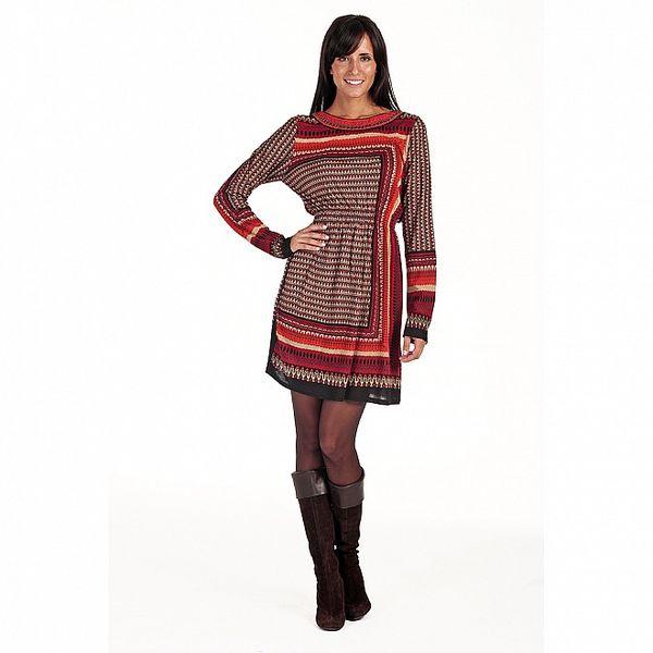 Dámské vínové vzorované šaty s dlouhým rukávem Peace&Love