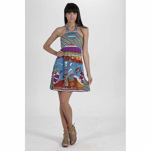 Dámské modré pestrobarevné šaty s potiskem Peace&Love