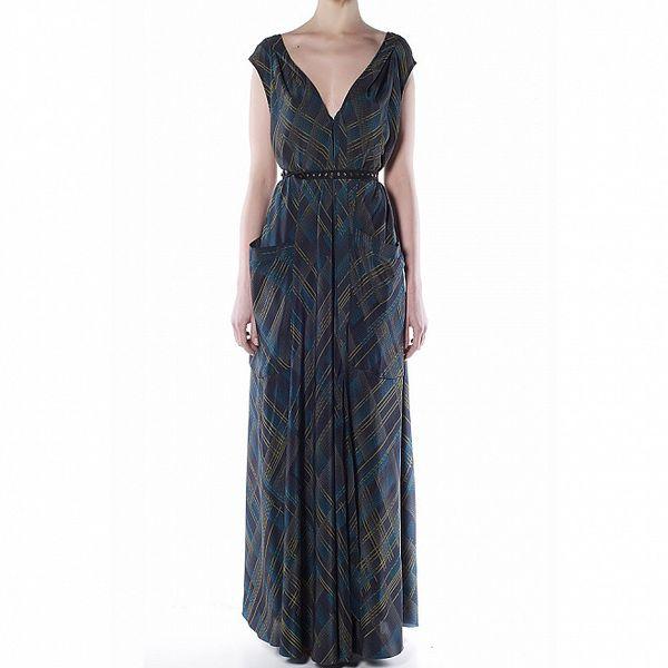 Dámske dlhé temne modré hodvábne šaty Gene s kárami