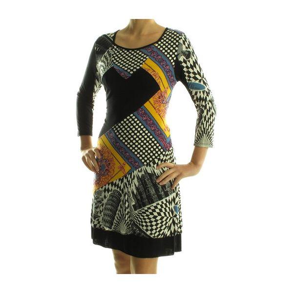Dámské šaty My Design Paris bílo-černé se žlutým potiskem