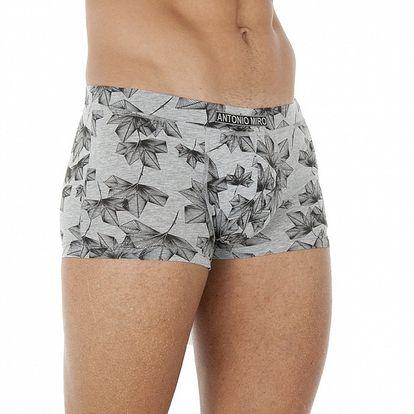 Pánske šedo-čierne boxerky so vzorkou Antonio Miro