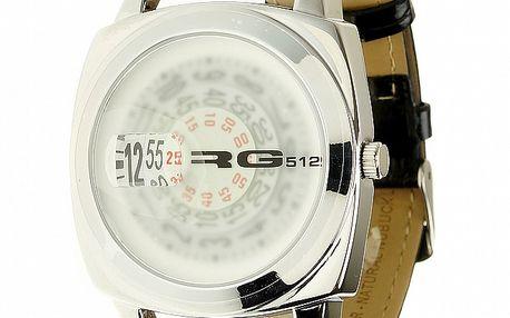 Unisexové oceľové hodinky s černým koženým páskem RG512