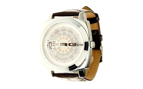 Unisexové oceľové hodinky s hnědým koženým páskem RG512