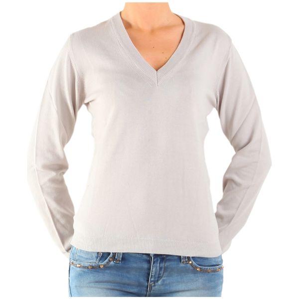 Dámský pulovr Calvin Klein krémový výstřih do V