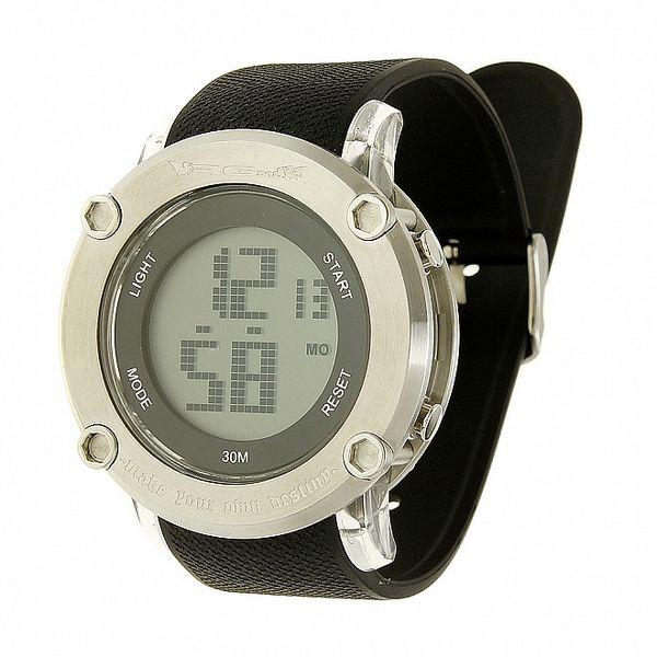 Unisexové černo-stříbrné digitální hodinky RG512