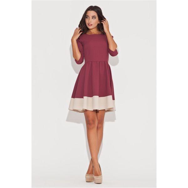 Dámské šaty Katrus červené béžový lem