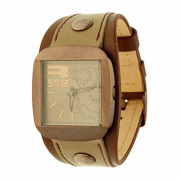 Unisexové hnědo-béžové analogové hodinky RG512